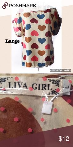 Hearts Shirt NWT. Short sleeve shirt with hearts on it. Size L. Beige. Any questions, please ask. Liva Girl Tops Blouses
