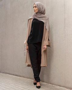 - Mocha Crepe Midi Kimono  Black Crepe Top  Black Straight Leg Trousers  Mid Grey Modal Hijab  www.inayah.co  #ModestFashion #Fashion #Kimono #Simple #Classics #hijab