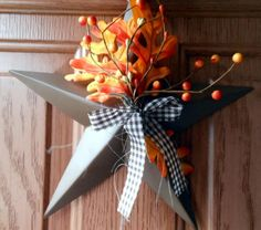 fall door decorating ideas   ... Star Wreath Thanksgiving Fall Country Primitive Door Wall Decor Autumn