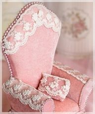 Tiny pink velvet chair with lace!  Wish this was life size....and mine! :)