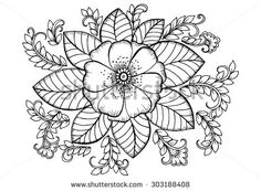 Floral pattern. Vector doodle flowers in one color,black - stock vector