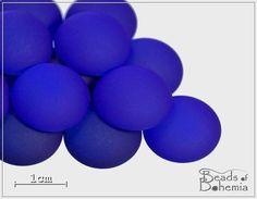2 pcs UV Active Neon Indigo Czech Glass Cabochon by BeadsOfBohemia