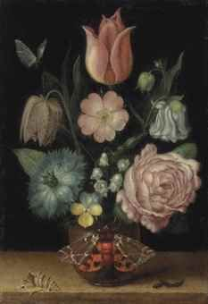A tulip, a Snakeshead, a Love-in-a-mist, a double variegated columbine, a Dog Rose, a Maiden's Blush Rose, lilies of the valley and a pansy in a pot with a garden tiger moth, a shell, and a caterpillar on a ledge, a butterfly above, c.1603