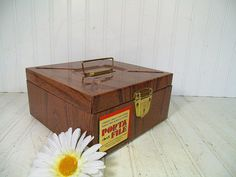 Industrial Litho Metal Check File Box - Vintage Ballonoff Porta-File Carrier - Retro Wood Grain Cash Box Brassy Interior & Original Label $14.00  by DivineOrders
