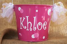 5 quart personalized Easter buckets by ForeverBFs on Etsy, $20.00