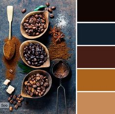 Blue and brown color palette inspired by coffee,coffee inspired color palette. I love this palette Room Colors, House Colors, Colours, Pantone, Brown And Blue Living Room, Brown Color Schemes, Blue Colour Palette, Color Palate, Coffee Colour