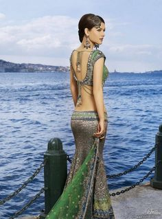 Indian Fashion. Love the back.     via  http://sareedreams.com/wp-content/uploads/2010/01/nehadalvi.jpg