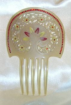 """Vintage Clear Celluloid and Red Rhinestones 'Painted"""" Hair Comb"""