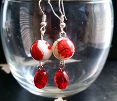 Red, White & Black Earrings, Asian Inspired Beaded Earrings by CinnamonCreations14 on Etsy