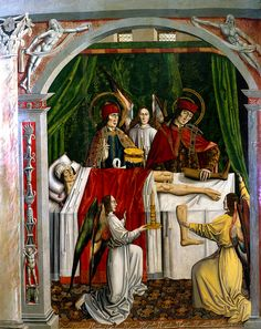 Master of Los Balbases (attrib.) (c. 1495). SS. Cosmas & Damian painlessly amputate the ulcerated leg of a Christian verger, substituting the undiseased leg of a dead Moor.
