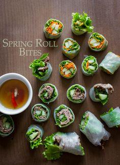 Fresh Sring Roll Bites, fun little bite sized appetizers. from WhiteOnRiceCouple.com