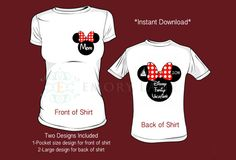 Two Designs Front And Back Iron On Transfer For Mom Front Design Disney Family Vacation 2014 Iron on Transfer For Back of Shirt DIY Appliqué