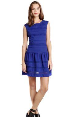 #JulieJordan blue stretch knit cap sleeve dress