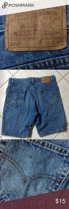Levi's jean shorts 505 regular fit men's 36 Jean shorts men's Levi's 505 size 36. A couple spots look like grease spots. See pics Levi's Shorts Jean Shorts