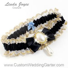"""Black and Gold WEDDING GARTER Pearl Bridal Garter """"Victoria"""" 123 Black Gold Prom Garter Plus Size & Queen Size Available too by CustomWeddingGarter on Etsy"""