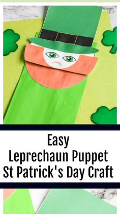 March Crafts, St Patrick's Day Crafts, Fun Crafts, Art Activities For Kids, Craft Projects For Kids, Diy Projects, Craft Instructions For Kids, Hanbok Wedding, Paper Bag Puppets