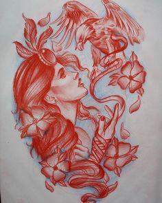 Mandala Tattoo, Tattoos For Women, Old School, Dragon, Traditional, Illustration, Painting, Tattoo Ideas, Wolf