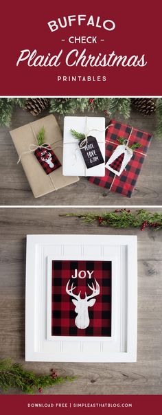 Add a little rustic, outdoorsy flair to your holiday decor and gift wrapping with these free buffalo check plaid Christmas printables. I wish it would be Christmas all year long! Plaid Christmas, Country Christmas, All Things Christmas, Winter Christmas, Christmas Holidays, Christmas Decorations, Holiday Decorating, Buffalo Check Christmas Decor, Christmas Lights