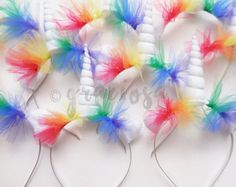 Rainbow Unicorn Party Pack Rainbow Unicorn Headbands by Graciosa