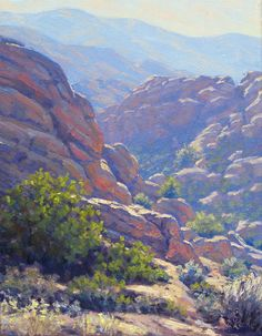 Southern California plein air landscape painting in oil, Vasquez Afternoon, by Elena Roché Beautiful Paintings Of Nature, Nature Paintings, Beautiful Landscapes, Art Nature, Canvas Paintings, Mountain Landscape, Landscape Art, Landscape Paintings, Types Of Desert