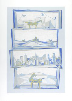 QUATTRO IMMAGINI Serigrafia di Francesco Casorati stampata su carta Tintoretto Neve 300gr/mq formato 50x70 - 15 colori 100 copie in numeri arabi Stampatore SERI-GRAFICA di Maurizio Rivetti - Cambiano (TO) In mostra fino al 15 Gennaio, presso InsideMind, Via Alba 53 Cuneo
