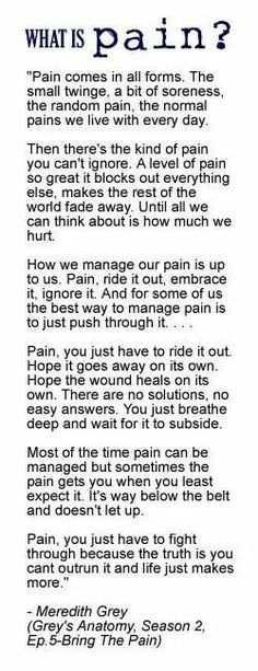 What is pain? Grey's Anatomy