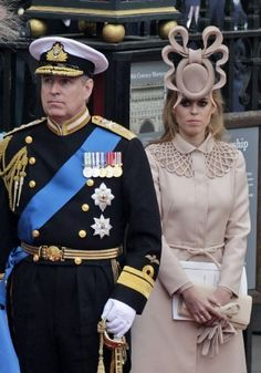 Prince Andrew and his daughter Beatrice at Prince William and Kate's wedding.