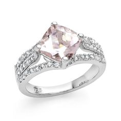 RARE PRINCESS MORGANITE WEDDING ENGAGEMENT RING SZ 6.5 + GIFT! #EXCEPTIONALBUY #SolitairewithAccents