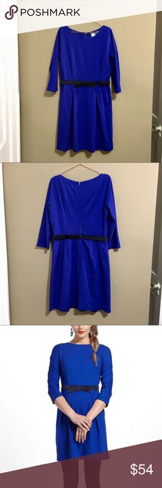 Anthropologie Girls from Savoy Ponte Knit Dress EUC. Show up to your holiday party in adorable vintage style with this dress from Anthropologie! Thick and slightly stretchy royal blue knit material with grey velvet belt detailing. Has some slight stains on the inside from deodorant (see photo) which I'm sure will come out when dry cleaned. Make me an offer! Anthropologie Dresses