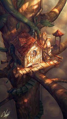 Treehouse by Francisco Vásquez Fantasy City, Fantasy House, Fantasy Places, Fantasy World, Fantasy Art Landscapes, Fantasy Landscape, Fantasy Artwork, Landscape Art, House Illustration
