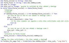 VBpuntoNet: Saber el total de dias habiles entre 2 fechas y ob...
