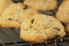 Coconut scones with Almonds and Chocolate  (drizzled with Coconut Glaze)