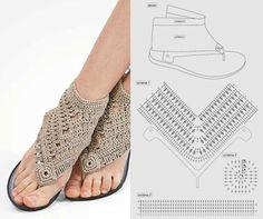 Crochet sandals (using beach thongs) Crochet Shoes, Crochet Slippers, Crochet Flip Flops, Crochet Barefoot Sandals, Shoe Pattern, Crochet Diagram, Summer Trends, Sock Shoes, Crochet Flowers