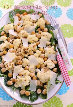 Roasted Cauliflower & Chickpea Caesar Salad cinnamonspiceandeverythingnice.com