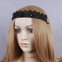 Lady Elegant Black Lace Wedding Beach Headband Prop Tiara Fancy Ornaments
