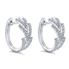 "Gabriel 14K White Gold Diamond ""Huggie"" Hoop Earrings Featuring 0.50 Carats Round Cut Diamonds with Hinge Lock. Style EG13172W45JJ"