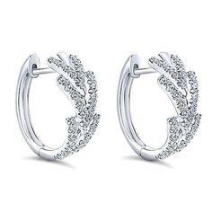"Gabriel 14K White Gold Diamond ""Huggie"" Hoop Earrings Featuring 0.50 Carats Round Cut Diamonds with Hinge Lock. Style EG13172W45JJ"