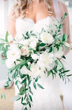Stacy Bowen Floral Design  Real wedding, Belmont Manor, Photographer: Lauren Myers Photography Wedding Bouquet, White Peonies and Greenery, Cascading Bouquet, Italian Ruscus, Eucalyptus, Garden Roses