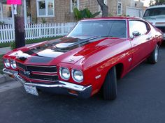 1970 chevelle ss 454 | AMERICAN MUSCLE CAR-1970 454 Chevrolet Chevelle, red racing car, retro ...