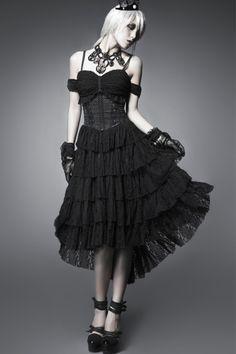 Kleid im Corsagen-Look mit Spitze