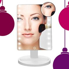 Lighted Makeup Mirror w 10X Magnifying Circle - Stocking Stuffer -LED Dimmable Adjustable Touchscreen - Cordless Cosmetic Mirrors for Creating Space, Traveling and Dorms -- You can get more details by clicking on the image.