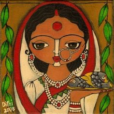 Monalisa: Morsels of Love Indian Artwork, Indian Folk Art, Indian Art Paintings, Indian Artist, Original Paintings, Abstract Paintings, Mughal Paintings, Oil Paintings, Madhubani Art