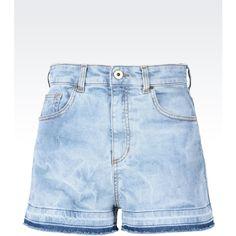 Emporio Armani Denim Shorts ($255) ❤ liked on Polyvore featuring shorts, indigo, high waisted shorts, emporio armani, zipper shorts, highwaist shorts and high-waisted shorts