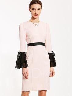 TBDress -  TBDress Lace-Up Elegant Color Block Bell Sleeve Womens Bodycon  Dress f9c5dbba34bc5