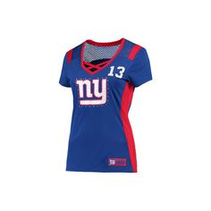 Women's Majestic Odell Beckham Jr Royal New York Giants Draft Him Name... ($65) ❤ liked on Polyvore featuring tops, t-shirts, blue t shirt, blue tee and blue top