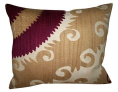 """Vintage Gulkurpa Suzani Accent Pillow. Solid Cotton/Linen blend fabric for reverse with zipper. Removable down feather insert included.  Size: 14.96"""" x 17.72"""""""