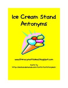 Free antonym literacy center.  Click the image to access it.