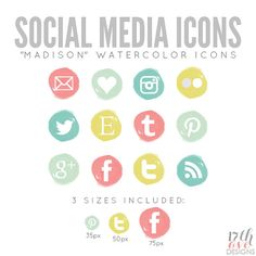 "Watercolor Social Media Icons for Blog & Web - ""Madison"", $6"