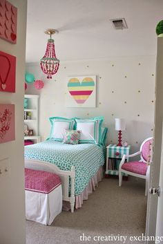 Little Girl's Room Revamped to Bright and Bold Tween Room Girl's bedroom revamp with a lot of fun DIY projects. The Creativity Exchange Teenage Girl Bedrooms, Tween Bedroom Ideas, Kid Bedrooms, Teen Rooms, Trendy Bedroom, Tween Beds, Childrens Bedroom, Basement Bedrooms, Little Girl Rooms