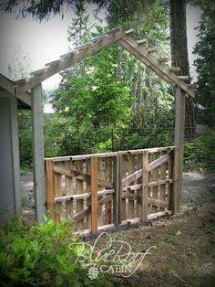 blue roof cabin: Garden Trellis from Salvaged Wood